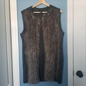 H&M faux ostrich vest (M)